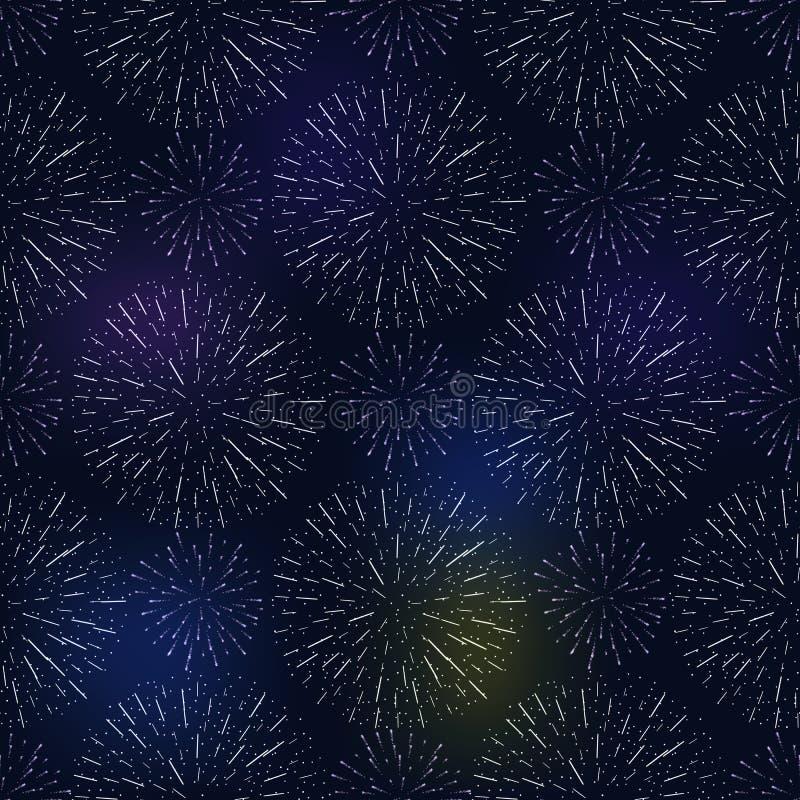 Świątecznego urodzinowego fajerwerku bezszwowy wzór pęka w różnorodnych kształtach błyska na czarnym tło wektorze royalty ilustracja