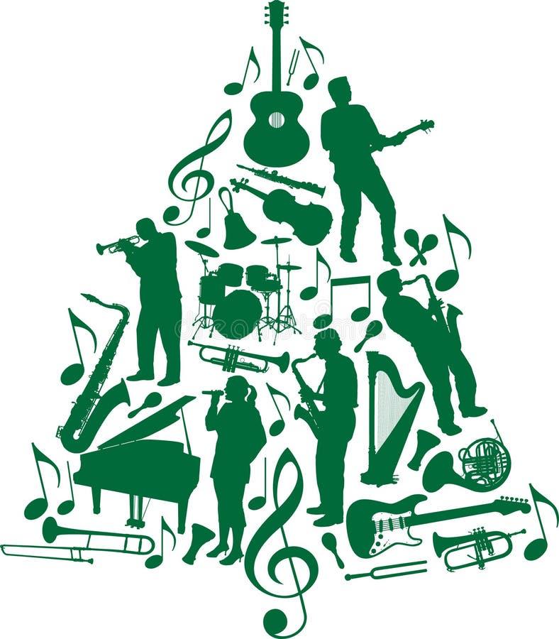 świątecznej muzyki drzewo ilustracja wektor