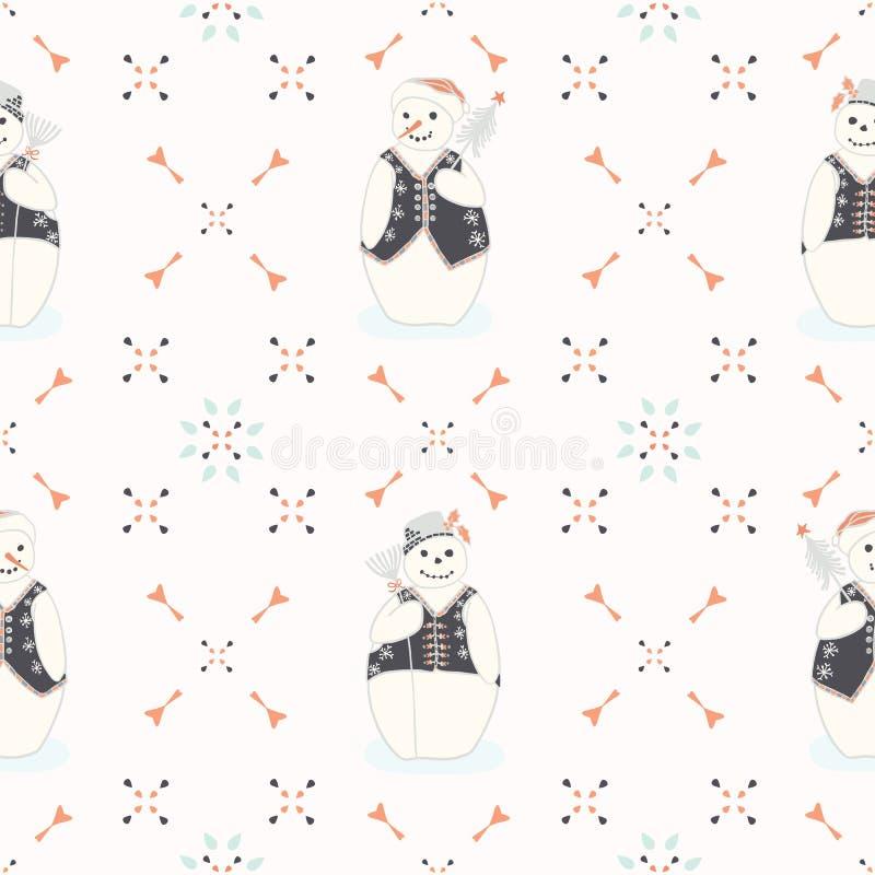 Świąteczni Śliczni i Pomarańczowi Bożenarodzeniowi Hafciarscy bałwany ilustracji