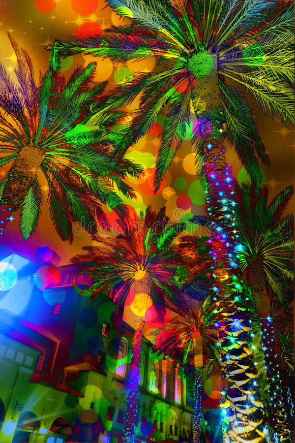 Świąteczni światło abstrakta drzewka palmowe zdjęcie royalty free