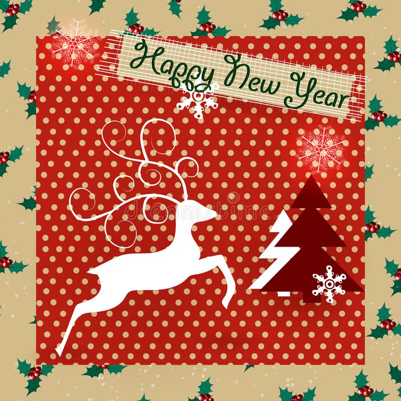 Świąteczni boże narodzenia Projektują szablon z choinkami, uświęcone jagody, śnieg, Bożenarodzeniowy rogacz dla ulotki, sztandar, ilustracji
