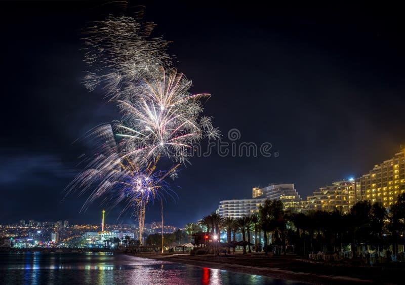 Świąteczni fajerwerki w Eilat obraz stock