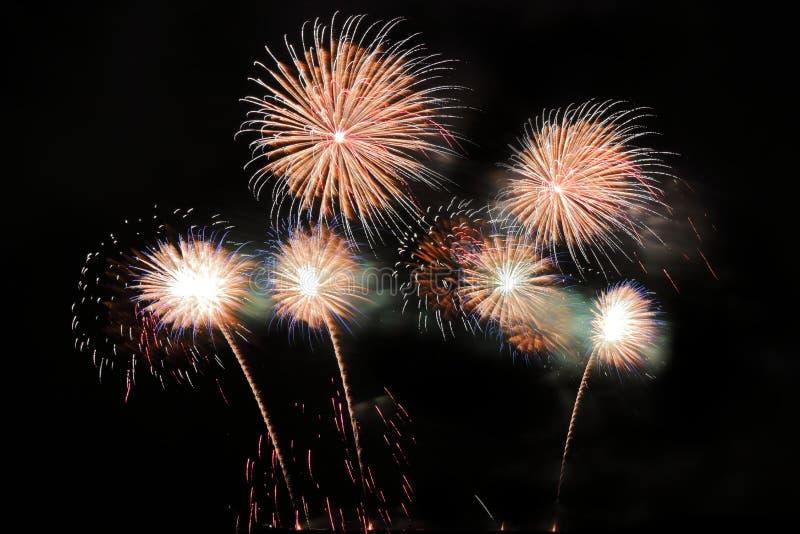 Świąteczni kolorowi fajerwerki na nocnego nieba tle Uroczysty wakacje fotografia royalty free