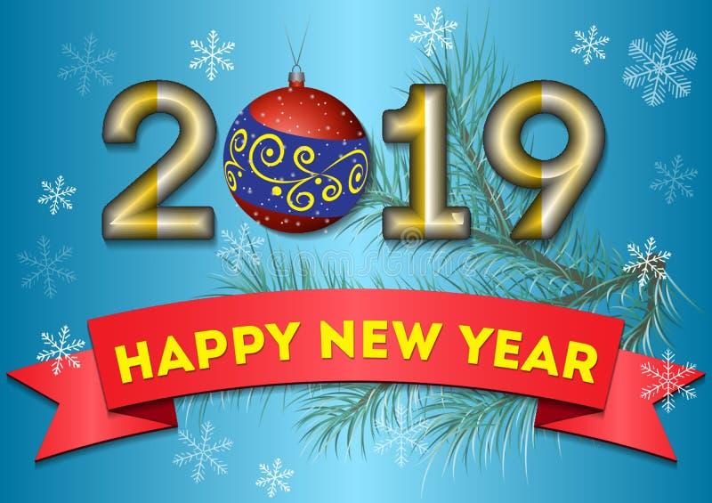 Świąteczni powitania dla nowego roku 2019 na zimy tle royalty ilustracja