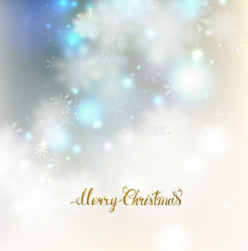 Świąteczny abstrakcjonistyczny elegancki połysku tło z płatkami śniegu Wesoło bożych narodzeń złocisty literowanie na świetle mig royalty ilustracja