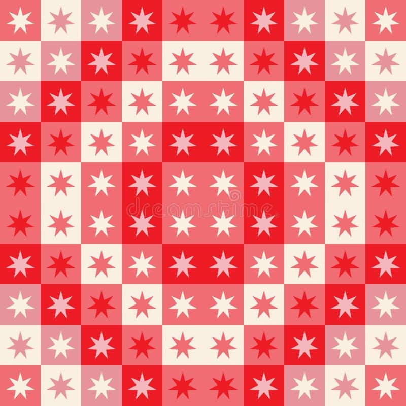 Świąteczny bezszwowy powtórka wzór geometryczni kwadraty i gwiazdy Bożenarodzeniowy wektorowy projekt w czerwieni i śmietance royalty ilustracja