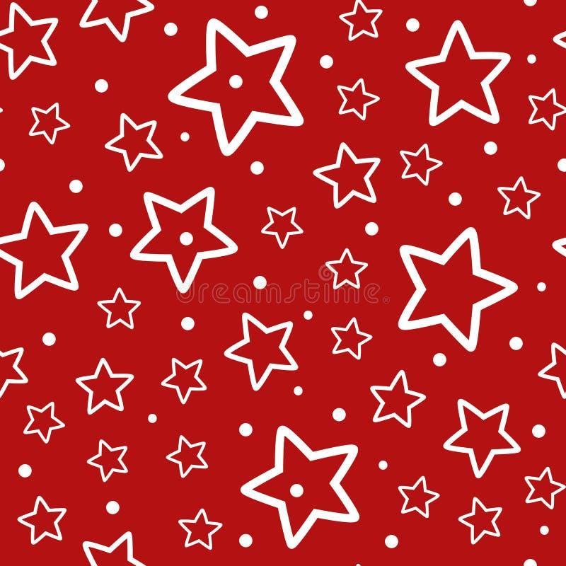 Świąteczny Bezszwowy wzór Częstotliwi kontury białe polek kropki na czerwonym tle i gwiazdy royalty ilustracja