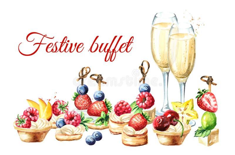 Świąteczny bufet, Słodcy Canapes i tarts z, owoc, jagody i szkło szampan Akwareli r?ka rysuj?ca ilustracja royalty ilustracja