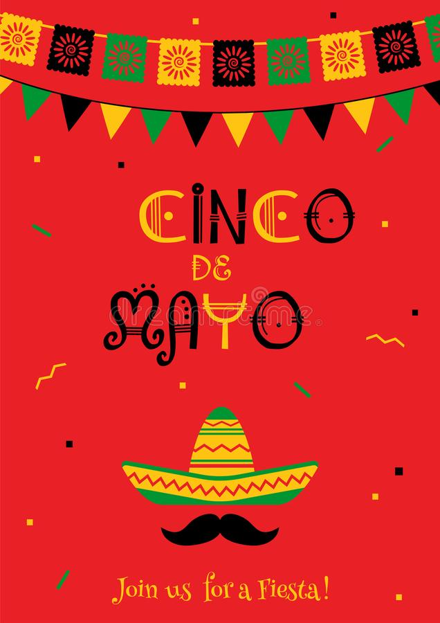 Świąteczny czerwony cinco de Mayo zaproszenia plakat ilustracja wektor