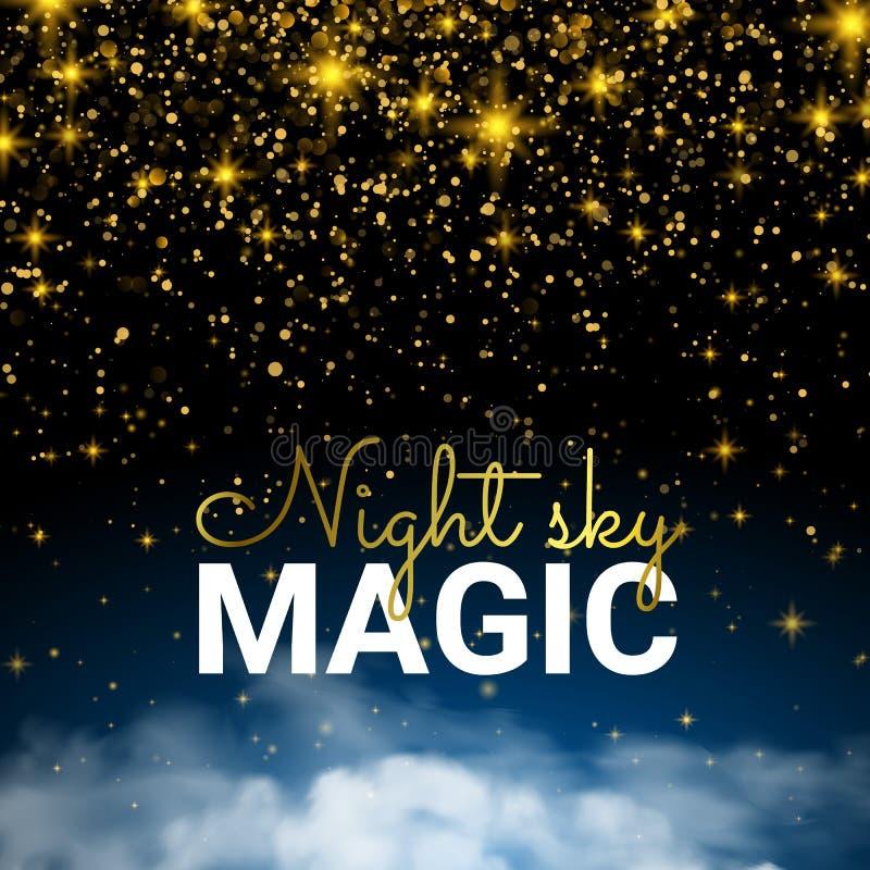 Świąteczny Iskrzasty Złocisty wybuch Nieskończoności Magiczna Gwiaździsta noc ilustracja wektor