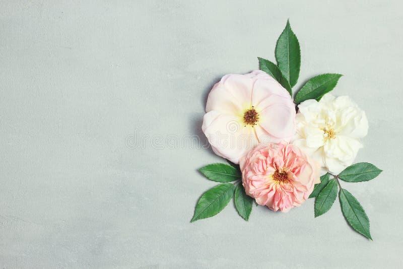 Świąteczny kwiatu skład na szarym tle Odgórny widok overhead obraz stock