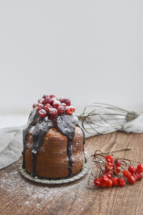 Świąteczny mały tort z czekoladą i jagodami zdjęcie stock