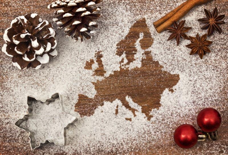 Świąteczny motyw mąka w formie Europa serii obraz stock