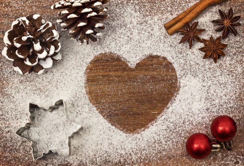 Świąteczny motyw mąka w formie kierowych serii zdjęcia royalty free