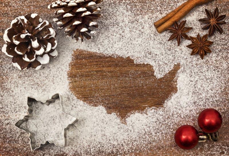 Świąteczny motyw mąka w formie usa serii fotografia stock