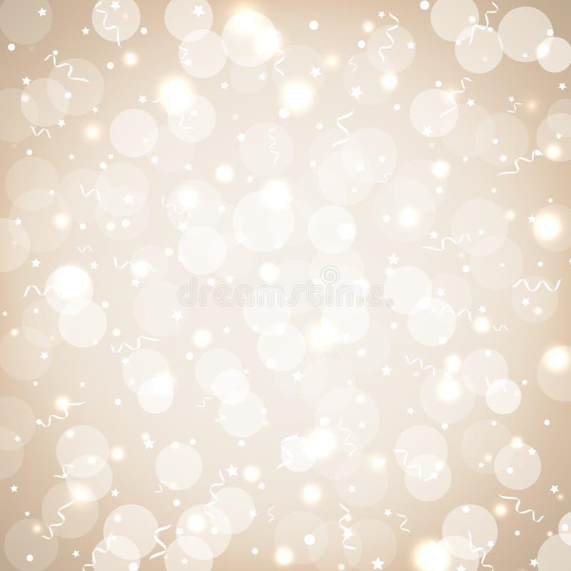 Świąteczny partyjny złoty tło z confetti, bokeh i serpentyną, Miękki pastelowy wakacyjny tło z złotym błyska wektor ilustracji