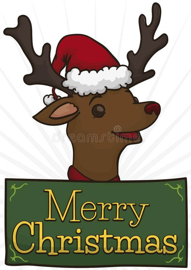 Świąteczny renifer z Santa nakrętką i powitanie wiadomością dla bożych narodzeń, Wektorowa ilustracja royalty ilustracja
