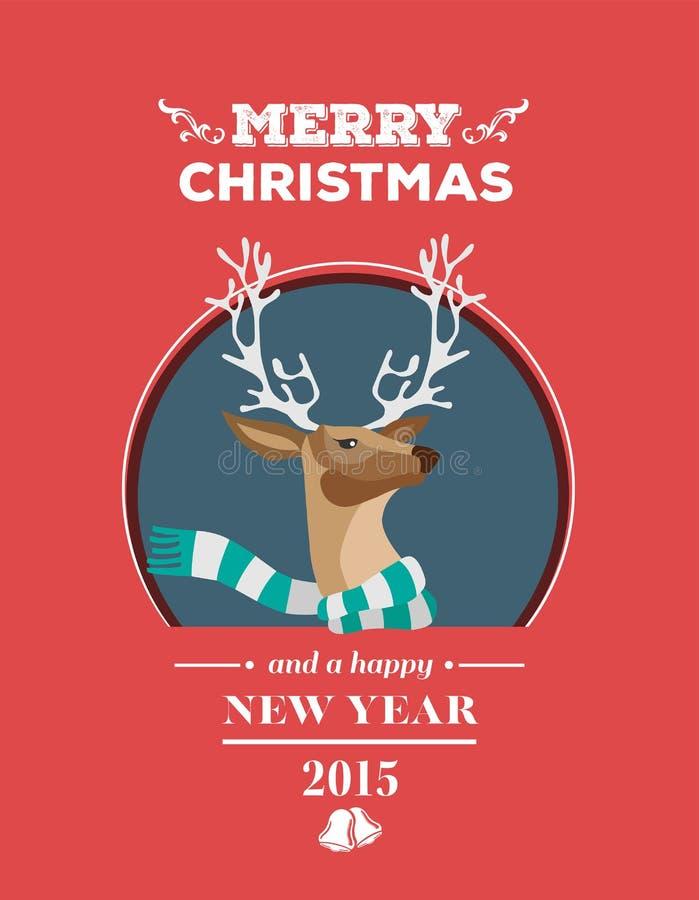 Świąteczny renifer z wiadomość wektorem ilustracja wektor