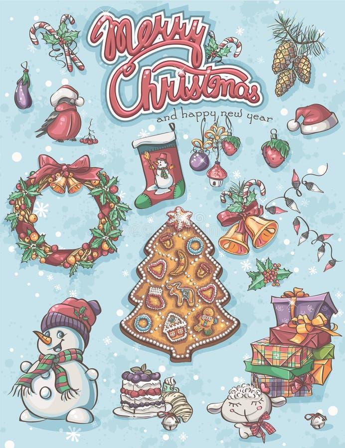Świąteczny set elementy Wesoło boże narodzenia royalty ilustracja