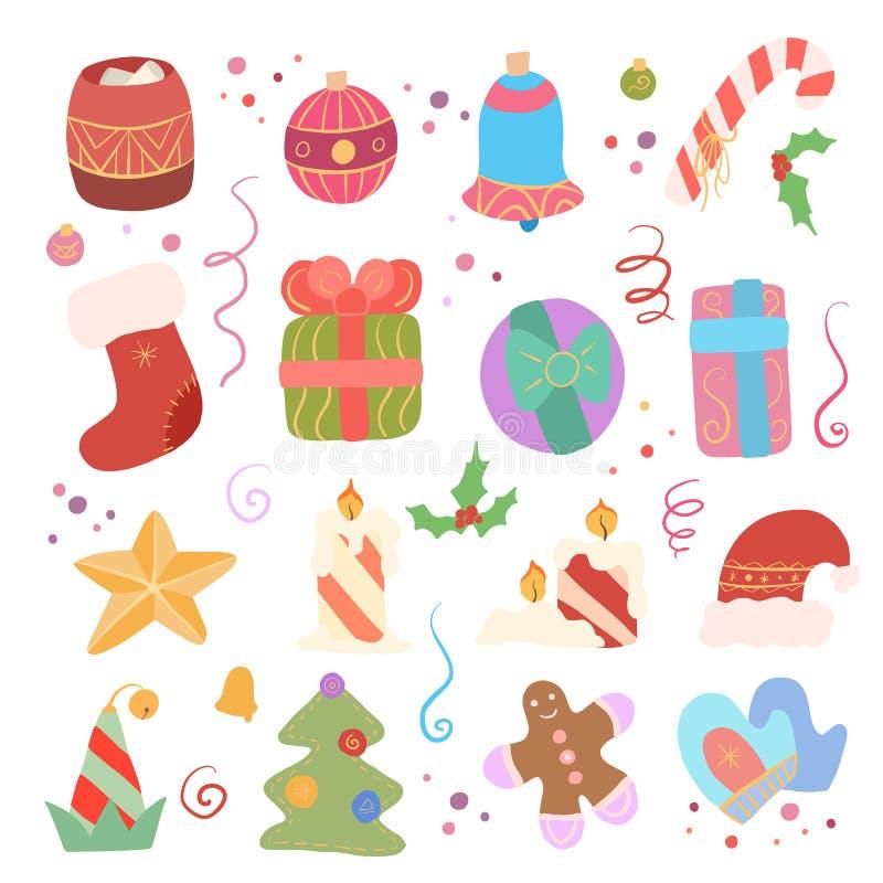 Świąteczny set różni elementy dla nowego roku wigilii prezent?w wakacje wiele ornamenty Dekoracje na kapeluszu i elfie choinki, S royalty ilustracja