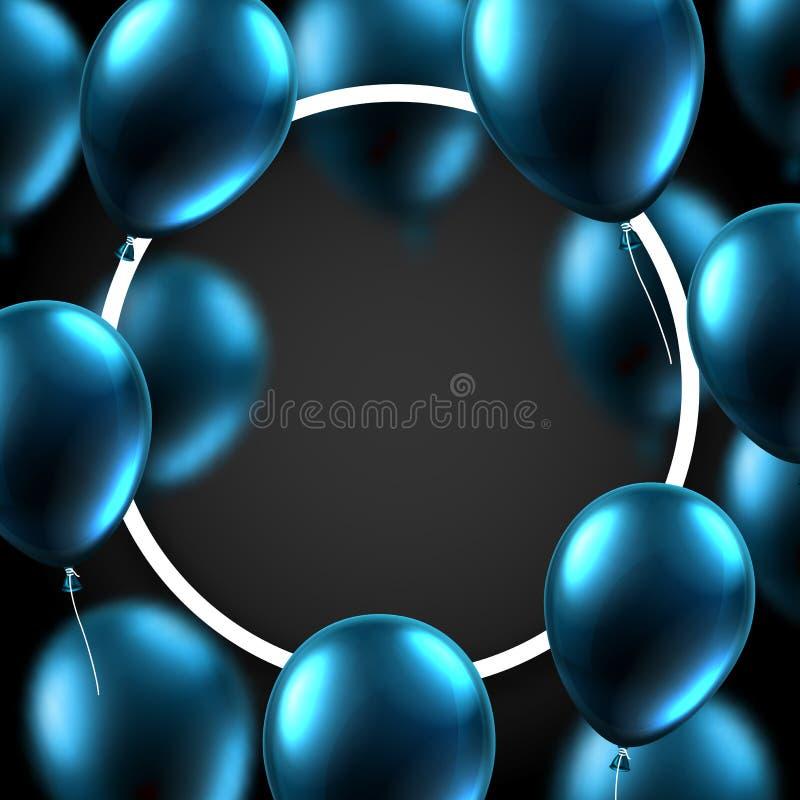 Świąteczny tło z białym round błękitem i ramą szybko się zwiększać ilustracja wektor