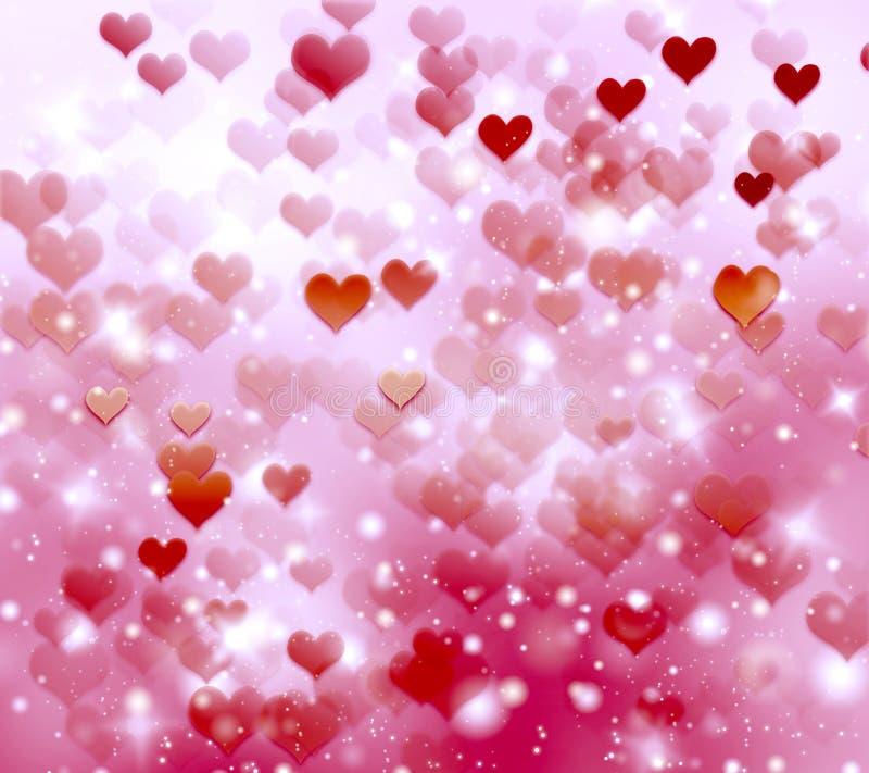 Świąteczny tło z czerwonymi sercami, zamazany bokeh tło, błyskotliwość, gradient, kochankowie, romans, Luty, walentynka dzień ilustracji