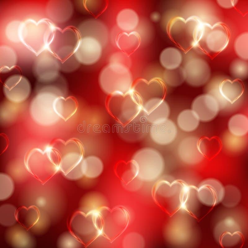 Świąteczny tło z sercami, bokeh ilustracji