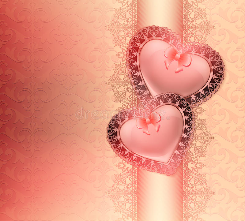 Świąteczny tło z sercami w miłości z łękami i orientalnymi kwiecistymi ornamentami ilustracji