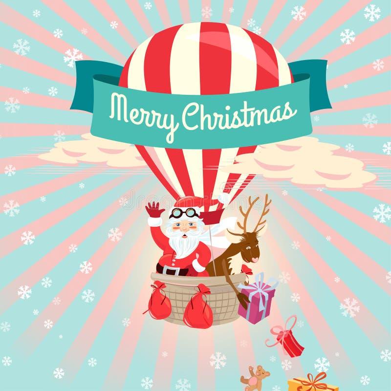 Świąteczny Wesoło bożych narodzeń kartka z pozdrowieniami z Święty Mikołaj i jego d ilustracja wektor