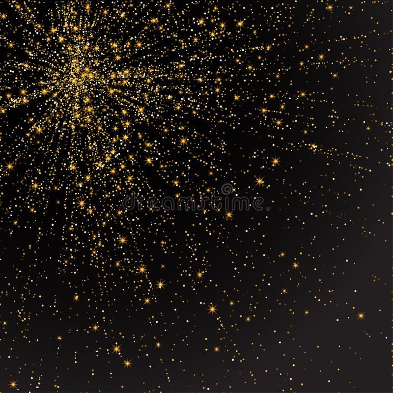 Świąteczny wybuch confetti Złocisty błyskotliwości tło dla karty, zaproszenie Wakacyjny Dekoracyjny element royalty ilustracja