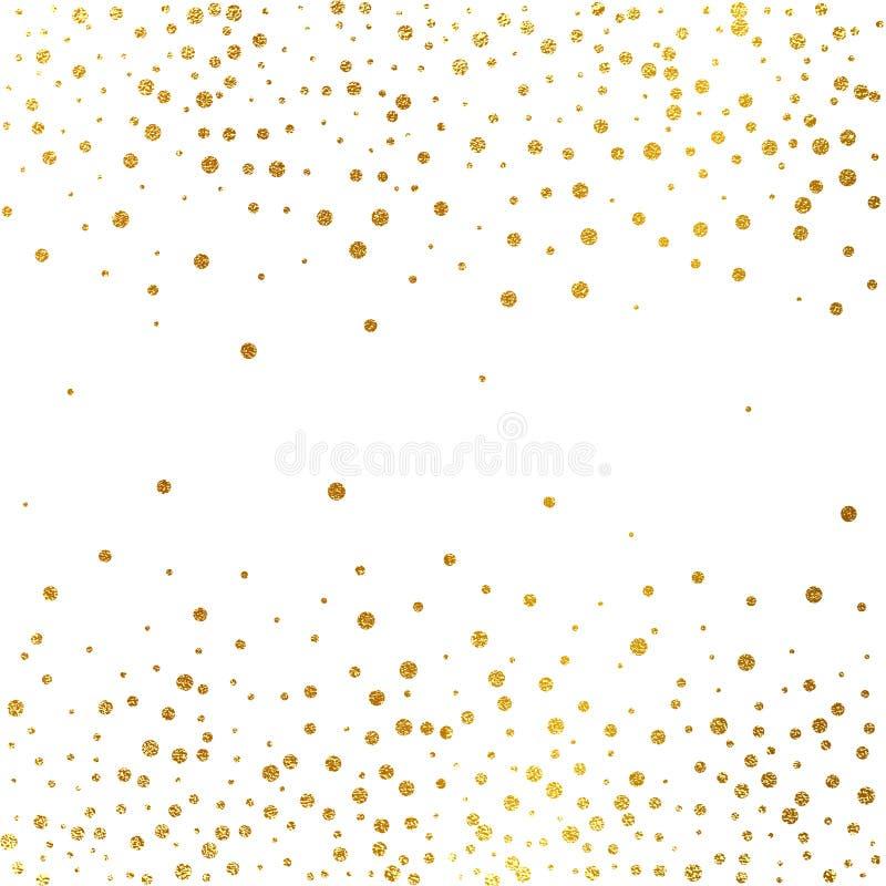 Świąteczny wybuch confetti Złocisty błyskotliwości tło nie stawiaj kropki nad ' złoty Wektorowa ilustracyjna polki kropka ilustracji