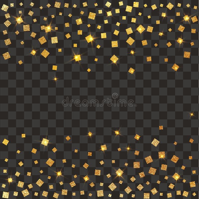 Świąteczny wybuch confetti Złocisty błyskotliwości tło nie stawiaj kropki nad ' złoty Wektorowa ilustracyjna polki kropka royalty ilustracja