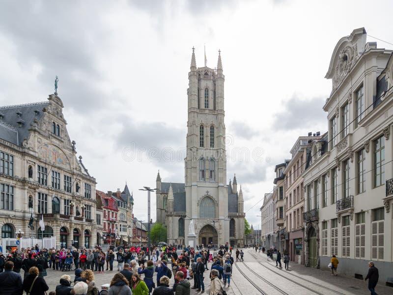 Świątobliwa Bavo katedra jest gothic katedrą w Ghent, Belgia obrazy royalty free