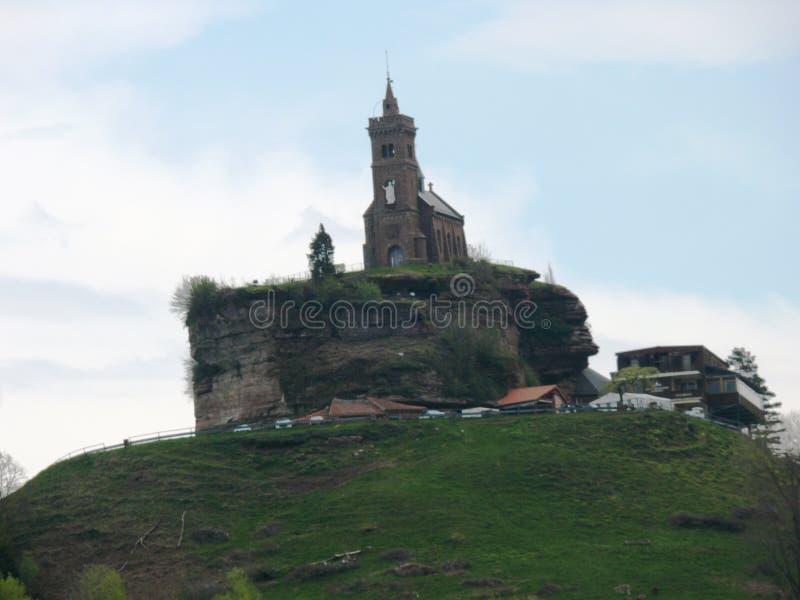 Świątobliwa Léon kaplica umieszczał na skale Dabo w Moselle obrazy stock