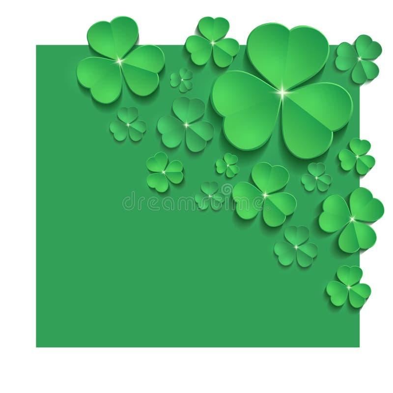 Świątobliwa Patrick dnia shamrock sztandaru kartki z pozdrowieniami zieleń ilustracja wektor