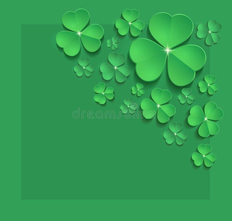Świątobliwa Patrick dnia shamrock wiosny kartki z pozdrowieniami zieleń ilustracja wektor