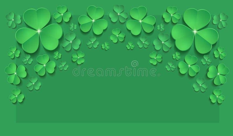 Świątobliwa Patrick dnia shamrock wiosny kartki z pozdrowieniami zieleń horyzontalna ilustracji