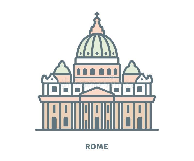 Świątobliwa Peters bazylika przy Watykańską wektorową ilustracją royalty ilustracja