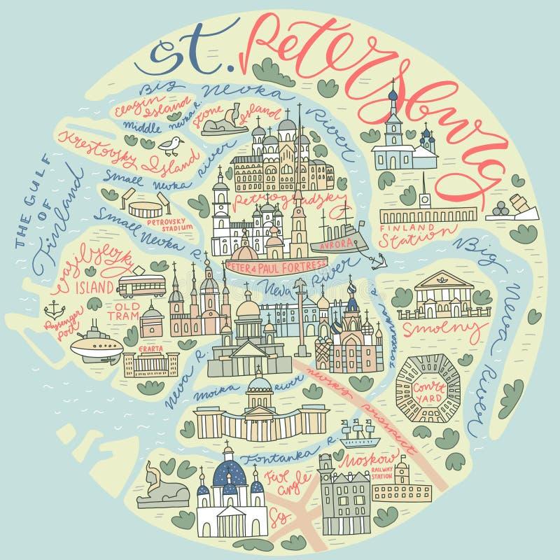 Świątobliwa Petersburg Doodle mapa royalty ilustracja