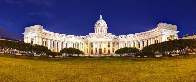 Świątobliwego Petersburg, Kazan katedra przy nocą, Rosja fotografia royalty free