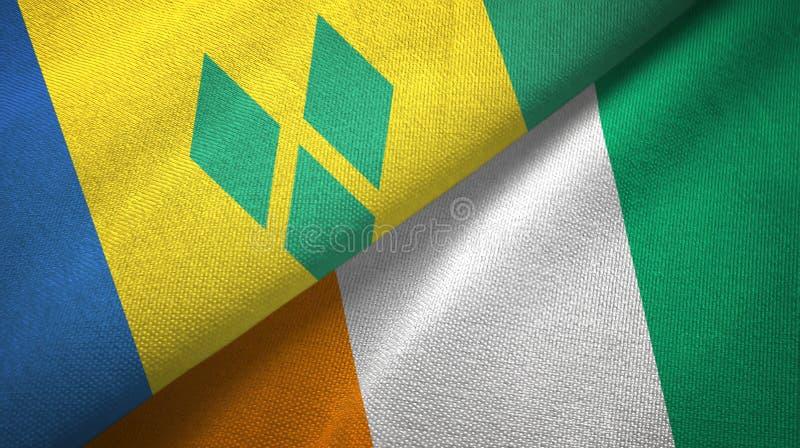Świątobliwego Vincent grenadyn i Cote d «Ivoire Z kości słoniowej wybrzeża dwa flagi ilustracji