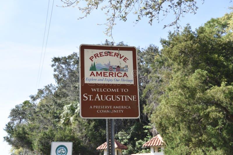 Świątobliwy Augustine Floryda prezerwy Ameryka znak obraz stock