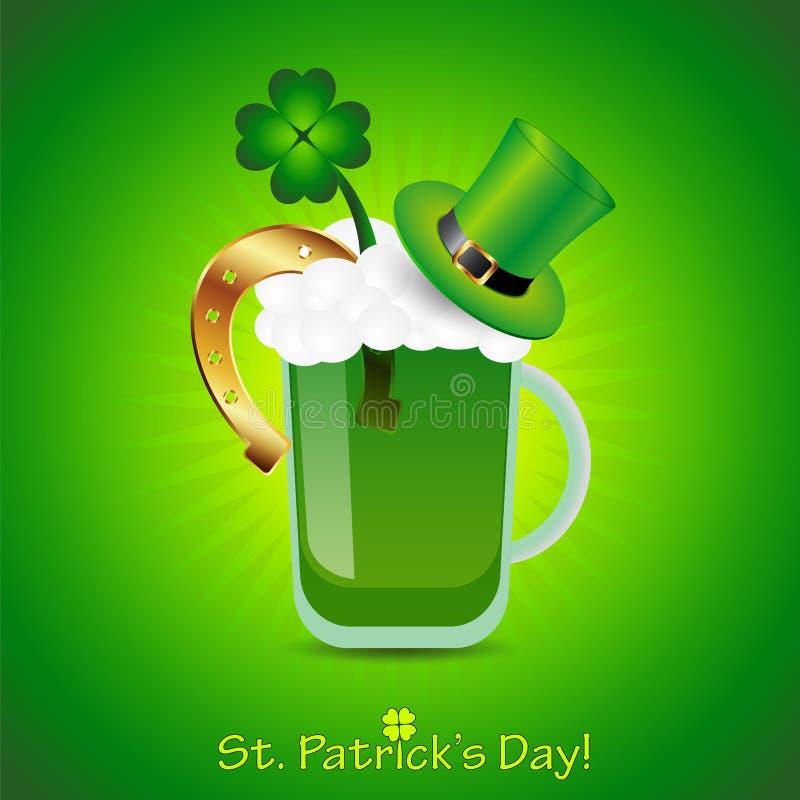 Świątobliwy Patrick dnia plakat z zielonym piwem, liść koniczyną, podkową i tubka kapeluszem, ilustracja wektor