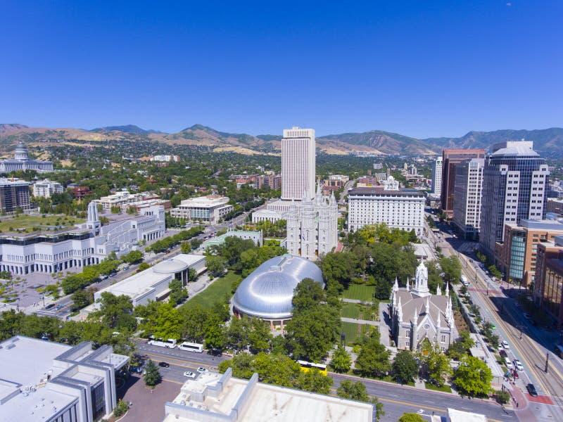 Świątyni Kwadratowy widok z lotu ptaka, Salt Lake City, Utah, usa zdjęcie royalty free