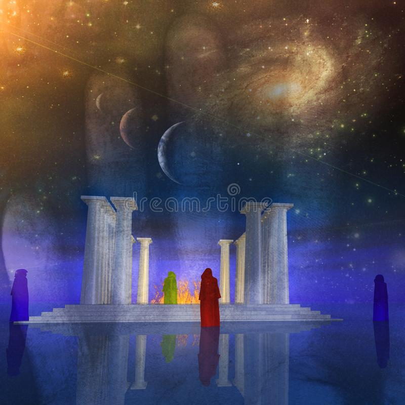 Świątyni mgły ilustracji