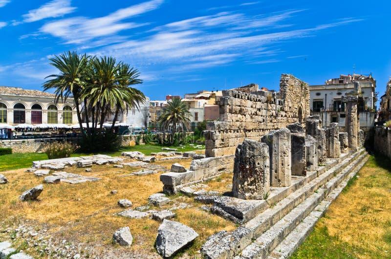Świątynia Apollo, starożytnego grka zabytek w Ortigia, Syracuse, Sicily zdjęcie royalty free