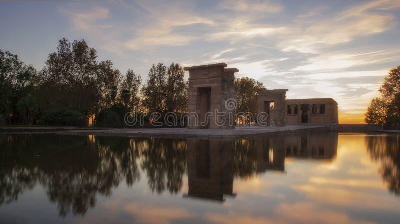 Świątynia Debod przy zmierzchem fotografia royalty free
