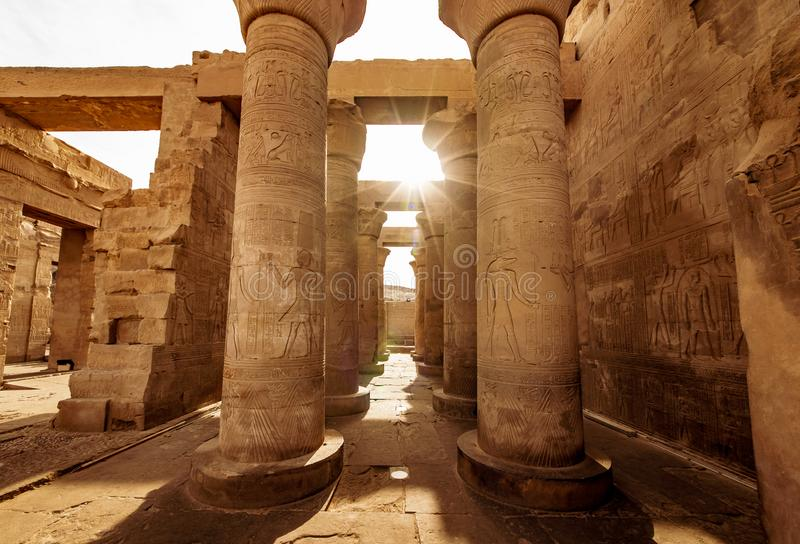 Świątynia dedykująca bóg Sobek w górnym Egipt Kom Ombo budował w czasach Ptolemy dynastia fotografia royalty free