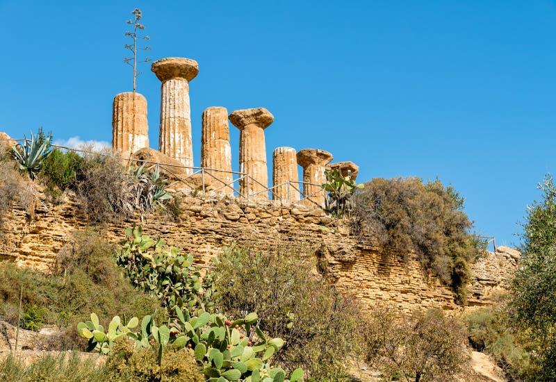 Świątynia Ercole, lokalizować w parku dolina świątynie w Agrigento, Sicily obraz royalty free