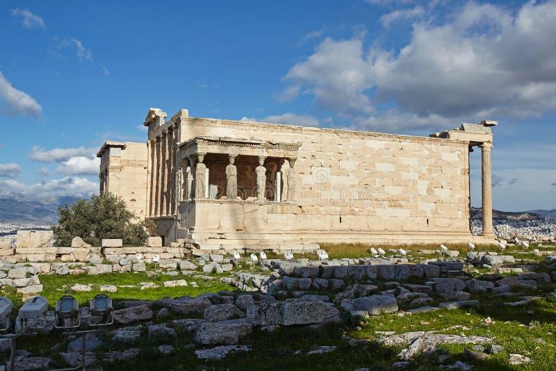 Świątynia Erectheion, akropol, Ateny fotografia stock